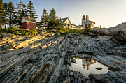 Maine Lighthouses Posters - The Lighthouse at Pemaquid Point Reflected in Tidal Pool Poster by At Lands End Photography
