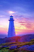 Filter Paintings - The Lighthouse at Sunset by Tyler Robbins