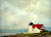 Maine Shore Framed Prints - The Lighthouse Framed Print by Darren Fisher
