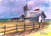 Boston Ma Painting Posters - The Lighthouse Poster by Diane Strain