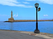 European Cafes Prints - The Lighthouse From Chania Harbor Crete Greece Print by Ana Maria Edulescu