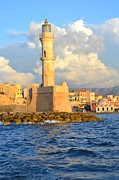 European Cafes Prints - The Lighthouse From Chania Venetian Harbor Crete Greece Print by Ana Maria Edulescu