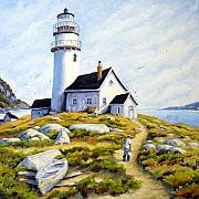 Fishing Boats Paintings - The Lighthouse Keeper by Richard T Pranke
