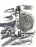 New Jersey Drawings Originals - The Lighthouse by Philip Blanche
