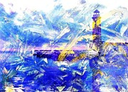 Sickness Mixed Media Prints - The LIGHTHOUSE THROUGH TURBULENT WATERS Print by PainterArtist FIN
