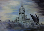 Castle Pastels - The lighthouse under the storm by Serran Dalmak