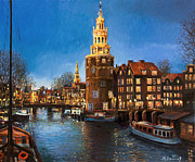 River View Paintings - The Lights of Amsterdam by Kiril Stanchev