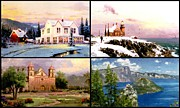 Crater Lake Paintings - The Lights of Lake Home Mission Sea  by Thomas Kinkade