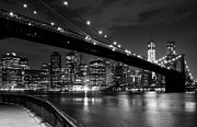 Skylines Digital Art Metal Prints - The Lights of Lower Manhattan Metal Print by Clay Townsend