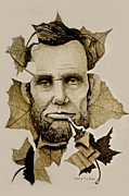 Earth Tones Drawings Originals - The Lincoln Leaf by Tim Ernst