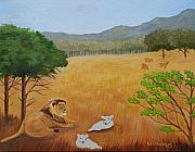 Ruth Housley Metal Prints - The Lion and Lambs SOLD Metal Print by Ruth  Housley