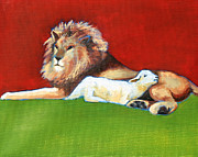 Lion Lamb Posters - The Lion and The Lamb Poster by Carol Jo Smidt