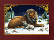 Lamb Framed Prints - The Lion and the Lamb Framed Print by Lynn Bywaters