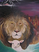Living Waters Paintings - The Lion and The Lamb by Rachael Pragnell