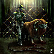 Gold Belt Prints - The Lion Tamer Print by Tony Christou