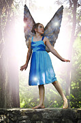 Angela Castillo Prints - The Little Blue Fairy Print by Cherie Haines
