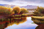 Little Red River Painting Metal Prints - The Little Deschutes Metal Print by Pat Cross