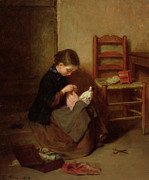 Doll Paintings - The Little Dressmaker by Pierre Edouard Frere