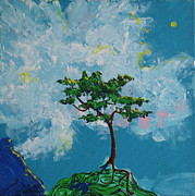 Sun Rays Painting Originals - The Little Grove - Little Tree by Stefan Duncan