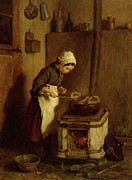Cooking Painting Prints - The Little Housekeeper Print by Pierre Edouard Frere
