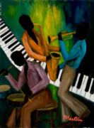 African-american Paintings - The Little Jazz Trio II by Larry Martin