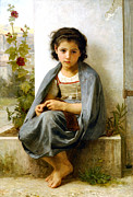 Old Masters Framed Prints - The Little Knitter Framed Print by William Bouguereau