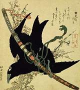 Katsushika Hokusai - The Little Raven with the Minamoto clan sword