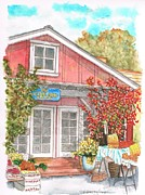 Postcards Originals - The Little Red Barn in Calabasas - California by Carlos G Groppa