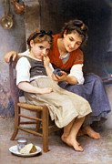 Vintage Chair Digital Art - The Little Sulk by William Bouguereau