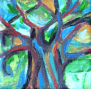 Bright Prints Painting Originals - The Little Tree by Genevieve Esson