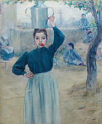 Famous Artists - The Little Village Girl with Red Carnation by Adolfo Guiard