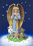 Lion Lamb Posters - The Littlest Angel Poster by Lynn Bywaters