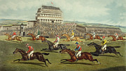 Race Horse Prints - The Liverpool Grand National Steeplechase Coming In Print by Charles Hunt and Son