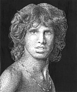 Jim Morrison Drawings Prints - The Lizard King Print by Timothy Glasby