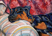 Lazy Dog Pastels - The Loafing Doberman by Barbara Lightner