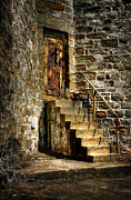 Stone Steps Posters - The Locked Door Poster by Lois Bryan