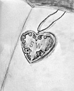 Gold Necklace Drawings - The Locket by Samantha Weinberg