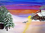 Snowscape Paintings - The Lodge at Painted Sky by Marilyn Detwiler