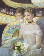 Evening Dress Painting Metal Prints - The Loge Metal Print by Mary Stevenson Cassatt