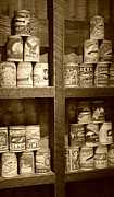 Metal Shelves Framed Prints - The Loggers Pantry - sepia Framed Print by Marilyn Wilson