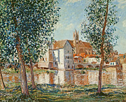 September Framed Prints - The Loing at Moret September Morning Framed Print by Alfred Sisley