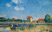 Small Houses Framed Prints - The Loing Canal at Saint-Mammes Framed Print by Alfred Sisley