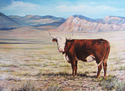 Steer Paintings - The Lone Range by Donna Tucker