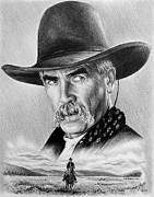 Cowboy Pencil Drawing Framed Prints - The Lone Rider Framed Print by Andrew Read