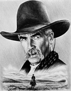 Cowboy Pencil Drawing Prints - The Lone Rider  wash effect Print by Andrew Read