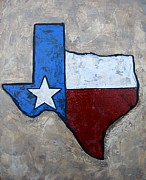 Plaque Painting Posters - The Lone Star State Poster by Suzanne Theis