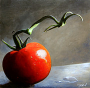 Tomato Paintings - The Lone Tomato by Steve Goad