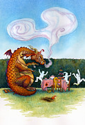 Tea Party Painting Framed Prints - The Lonely Dragon Framed Print by Isabella Kung