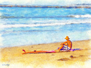 Athletic Digital Art - The lonely surfer by Bob Galka