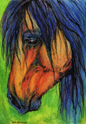Horses Drawings - The Long Mane by Angel  Tarantella